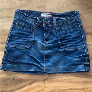Dark wash denim mini-skirt